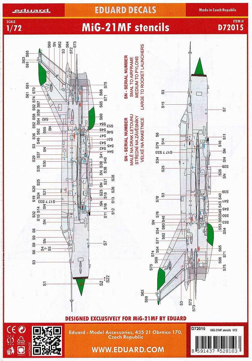 Eduard-D-72015-MiG-21MF-stencils-2 Zubehör für die neue MiG-21MF im Maßstab 1:72 von Eduard - Stencils D72015