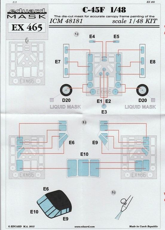 Eduard-EX-465-Beech-C-45-Masken Detail- und Umbausets für die 1:48er Beechcraft 18 / Beech C-45 von Eduard und BelcherBits