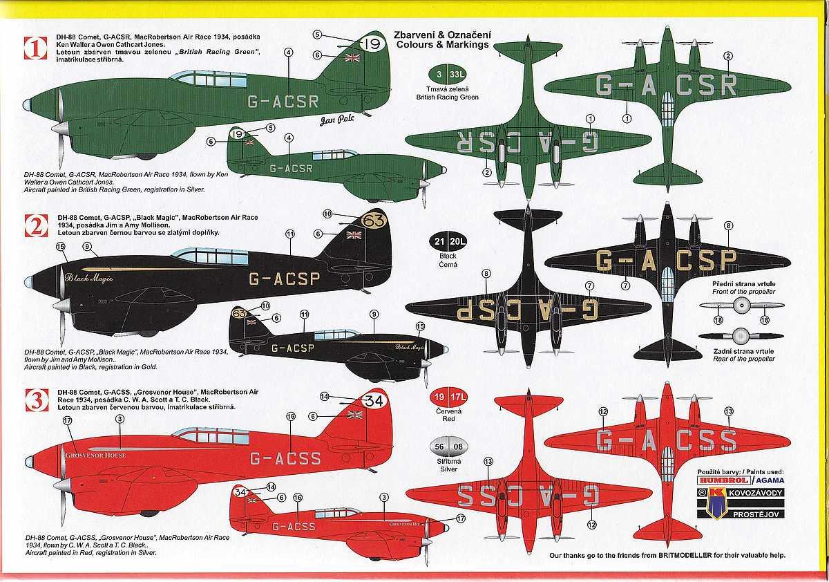 KP-Models-KPM-0099-DH-88-Comet-Racer-6 deHavilland DH.88 Comet Racer in 1:72 von KP Models KPM 0099