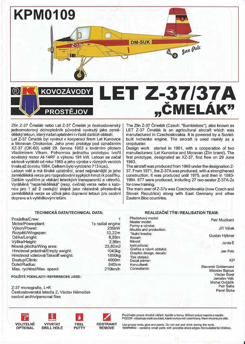 KP-Models-KPM-0109-Let-Z-37A-Cmelak-4 Let Z-37A im Maßstab 1:72 von KP Models KPM 0109