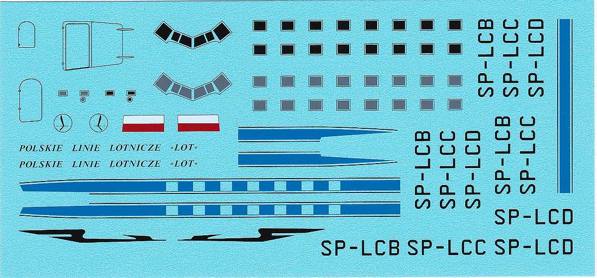 Karaya-144-10-DC-3-LOT-5 Decals für die Douglas DC-3 bzw. C-47 im Maßstab 1:144 von Karaya