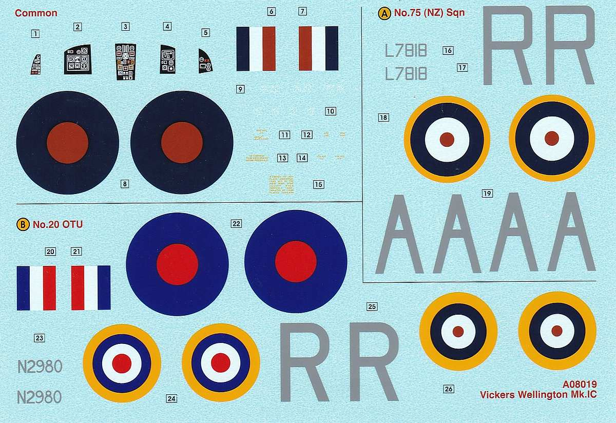 Airfix-A08019-Vickers-Wellington-Mk.-Ic-Decals Vickers Wellington Mk. Ic in 1:72 von Airfix A08019