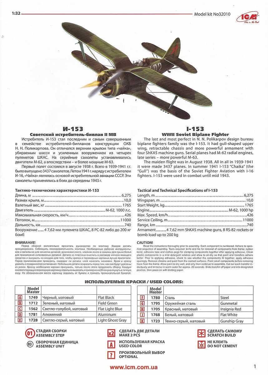 ICM-32010-Polikarpov-I-153-Tschaika-64 Polikarpov I-153 Tschaika im Maßstab 1:32 von ICM 32010