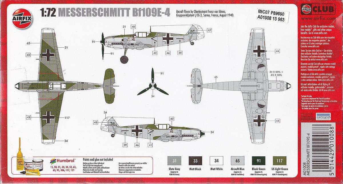 Airfix-A01008-Messerschmitt-Bf-109E-4-11 Messerschmitt Bf 109 E-4 in 1:72 von Airfix A01008