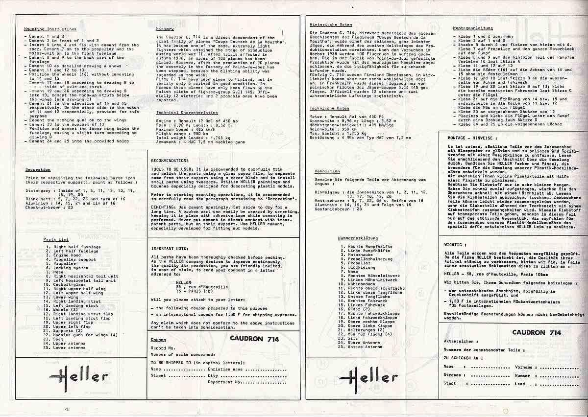 Heller-218-Caudron-C-1 Kit-Archäologie: Caudron C.714 im Maßstab 1:72 von Heller