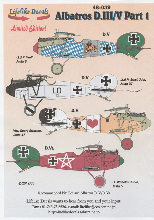 Lifelike-Decals-Albatros-D.Va_ Albatros D.V / D.Va im Maßstab 1:48 als OVERTREE-Kit von Eduard 8113X