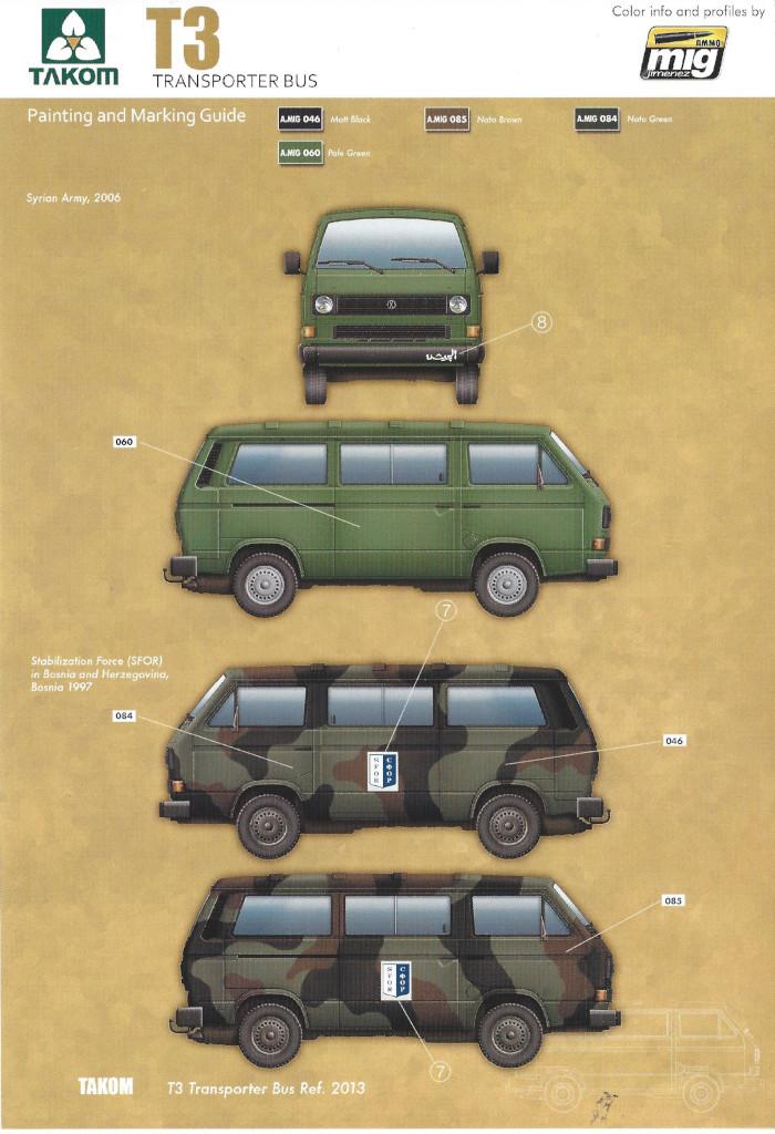 Markierungsvarianten2 T3 Transporter Bus Takom 1:35 (#2013)