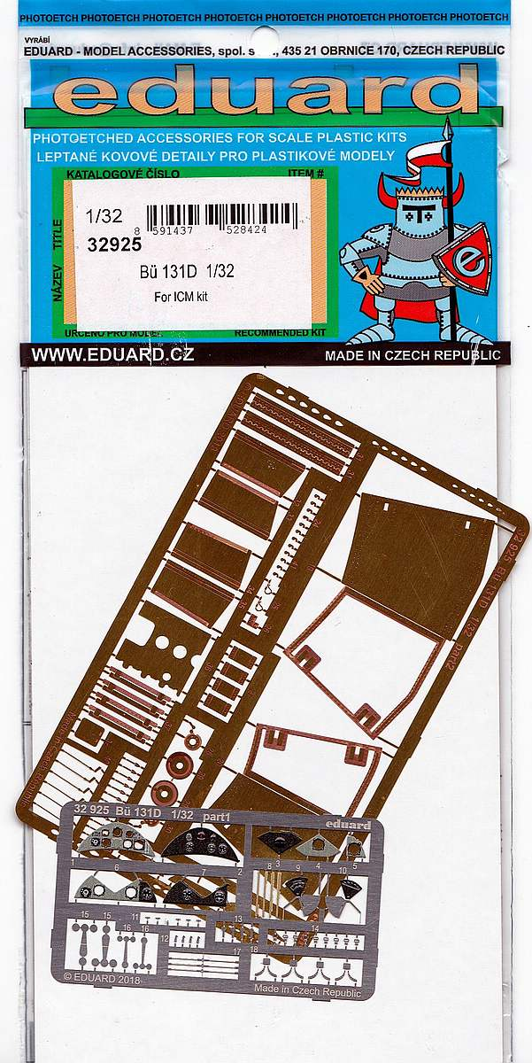 Eduard-32925-Bü-131D-1 EDUARD Detailsets für die Bücker Bü 131D von ICM im Maßstab 1:32