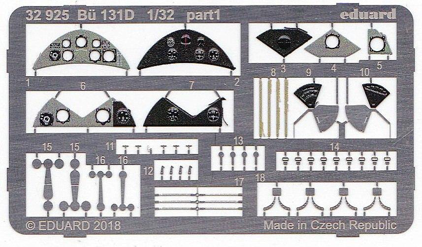 Eduard-32925-Bü-131D-3 EDUARD Detailsets für die Bücker Bü 131D von ICM im Maßstab 1:32