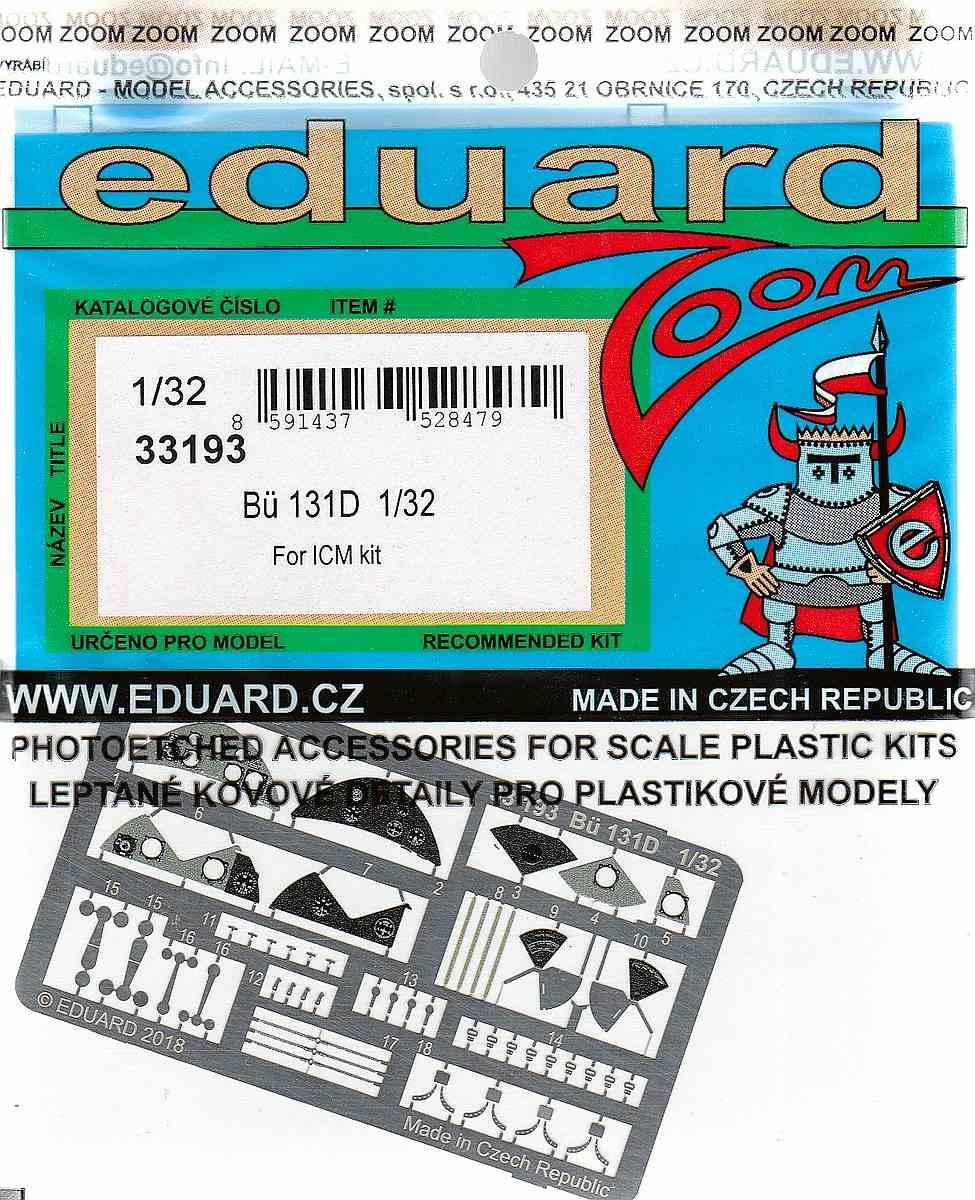 Eduard-33193-Bü-131D-Zoom EDUARD Detailsets für die Bücker Bü 131D von ICM im Maßstab 1:32