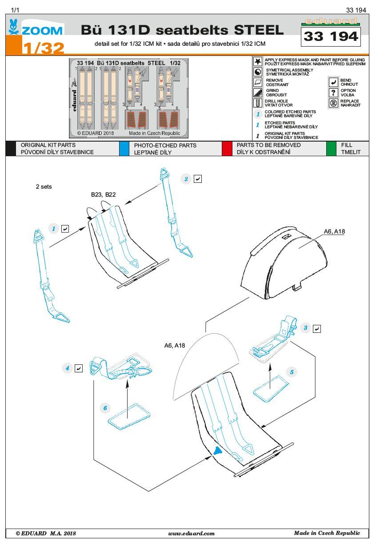 Eduard-33194-Bü-131D-seatbelts-STEEL-1 EDUARD Detailsets für die Bücker Bü 131D von ICM im Maßstab 1:32