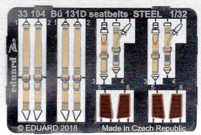 Eduard-33194-Bü-131D-seatbelts-STEEL-2 EDUARD Detailsets für die Bücker Bü 131D von ICM im Maßstab 1:32