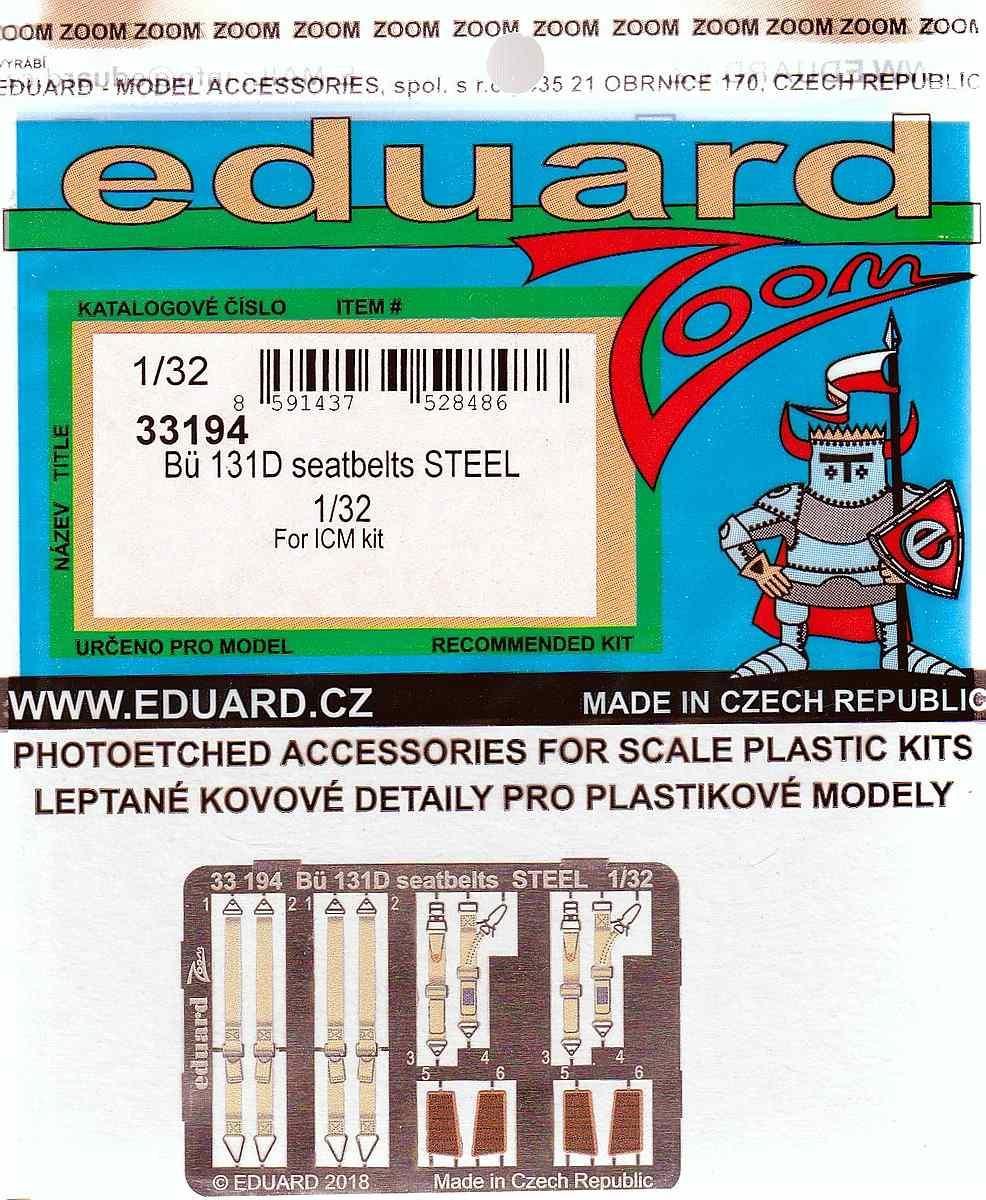 Eduard-33194-Bü-131D-seatbelts-STEEL EDUARD Detailsets für die Bücker Bü 131D von ICM im Maßstab 1:32