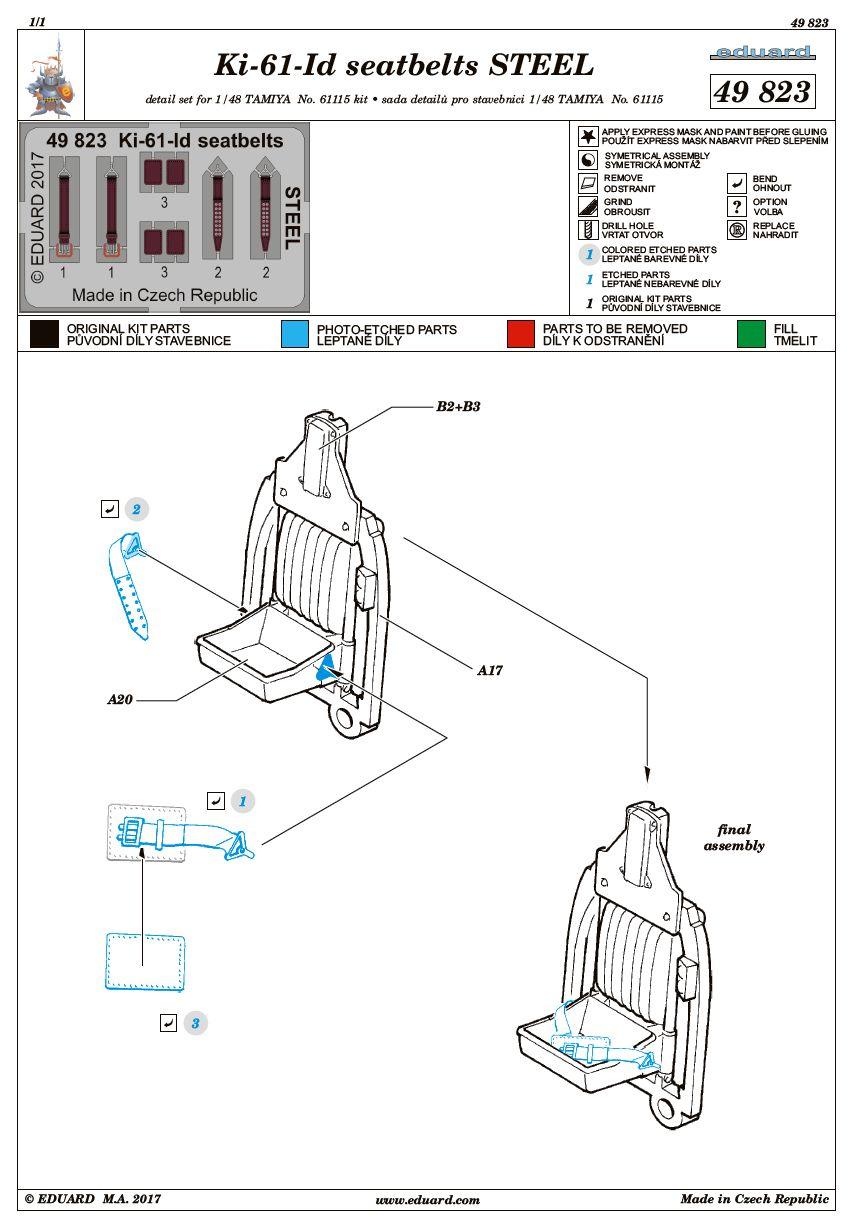 Eduard-49823-Ki-61-Id-seatbelts-STEEL-2 BigEd-Set für die Kawasaki Ki-61-Id im Maßstab 1:48 von Tamiya BIG 49174
