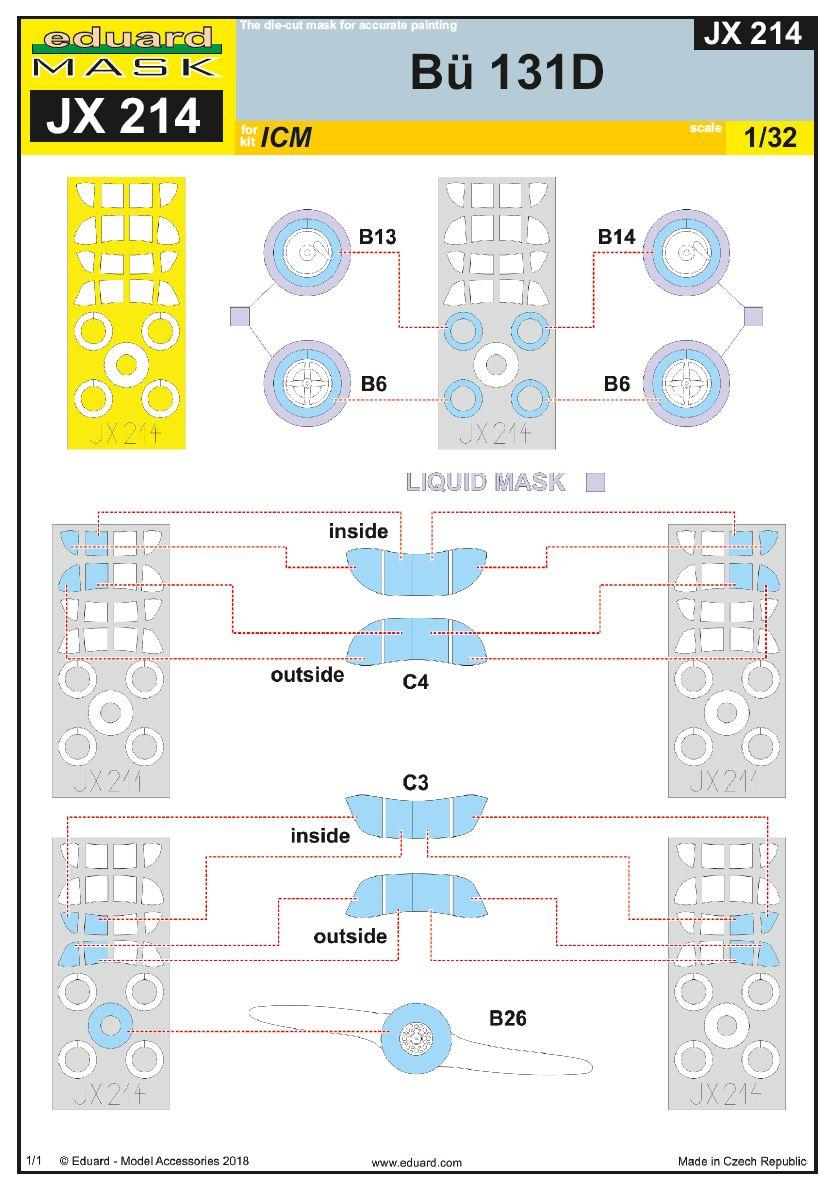 Eduard-JX-214-Bü-131D-Masken-3 EDUARD Detailsets für die Bücker Bü 131D von ICM im Maßstab 1:32