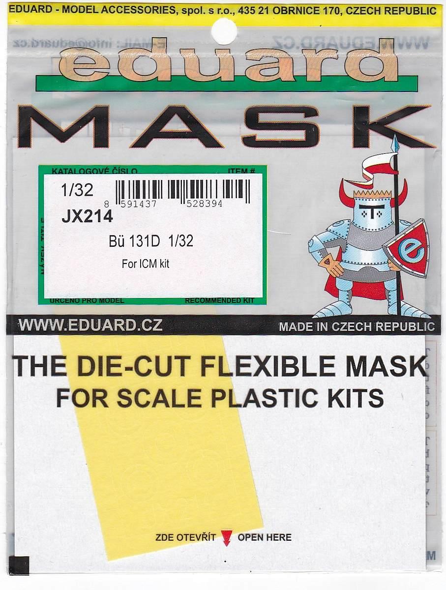 Eduard-JX-214-Bü-131D-Masken EDUARD Detailsets für die Bücker Bü 131D von ICM im Maßstab 1:32