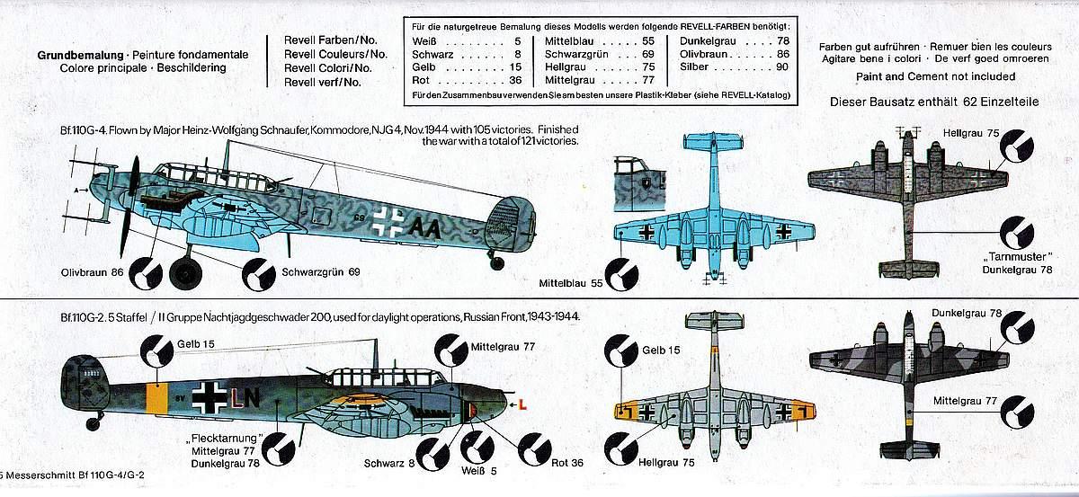 Revell-H-95-Messerschmitt-Bf-110-G-4-2 Kit-Archäologie - heute: Messerschmitt Bf 110 G-4 im Maßstab 1:72 von Revell H-95