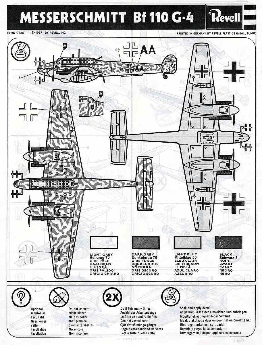 Revell-H-95-Messerschmitt-Bf-110-G-4-4 Kit-Archäologie - heute: Messerschmitt Bf 110 G-4 im Maßstab 1:72 von Revell H-95