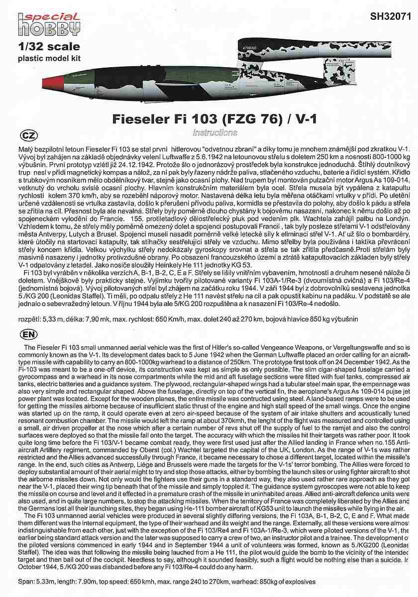 Special-Hobby-SH-32071-Fieseler-Fi-103-V1-Bauanleitung-1 Fieseler Fi 103 V1 in 1:32 von Special Hobby SH 32071