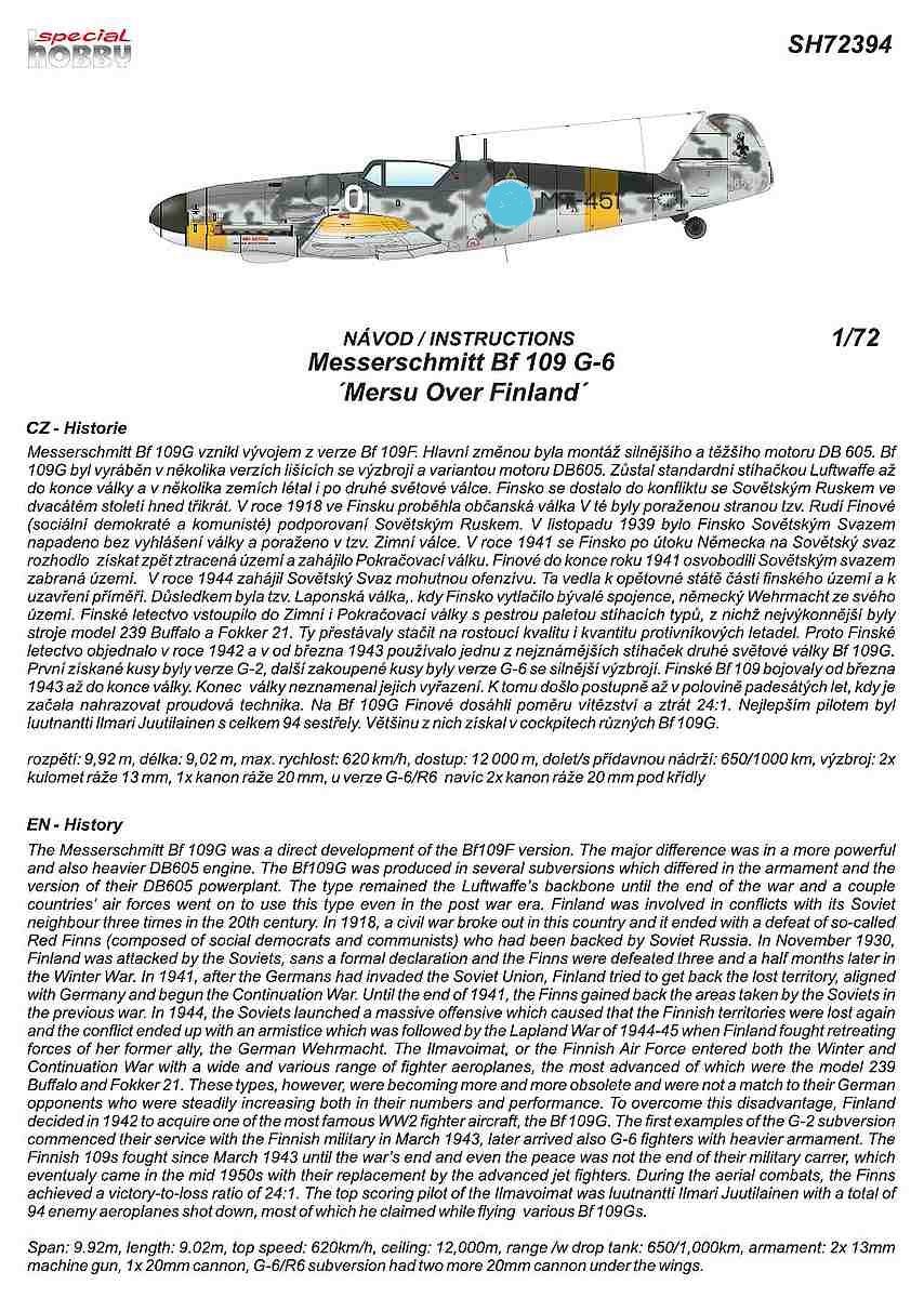 Special-Hobby-SH-72394-Messerschmitt-Bf109-G-6-Finnland-3 Messerschmitt Bf 109 G-6 MERSU in Finnland in 1:72 von Special Hobby SH 72394