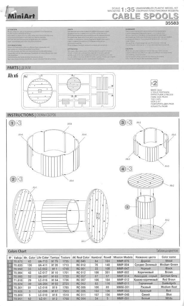 Anleitung Cable Spools im MAßstab 1:35 von MiniArt #35583