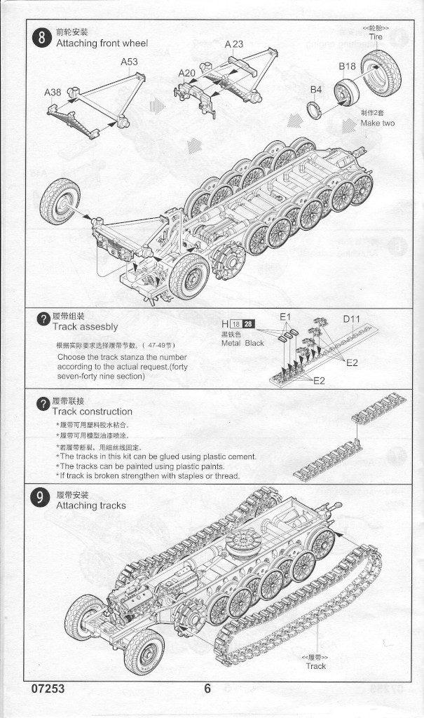 Anleitung06-605x1024 Sd. Kfz. 9/1 Early Version (Drehkran 6/ auf Zugkraftwagen 18T) FAMO Trumpeter 1:72 (07253)