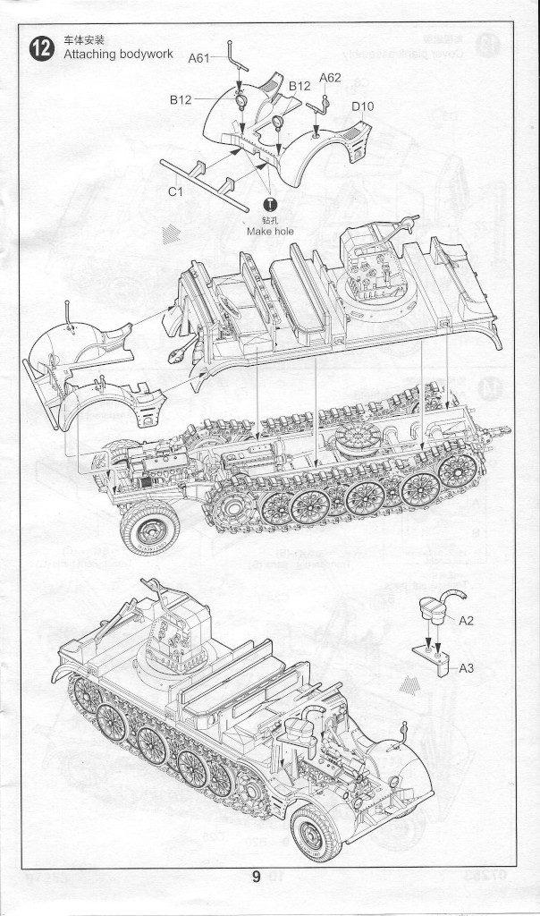 Anleitung09-604x1024 Sd. Kfz. 9/1 Early Version (Drehkran 6/ auf Zugkraftwagen 18T) FAMO Trumpeter 1:72 (07253)