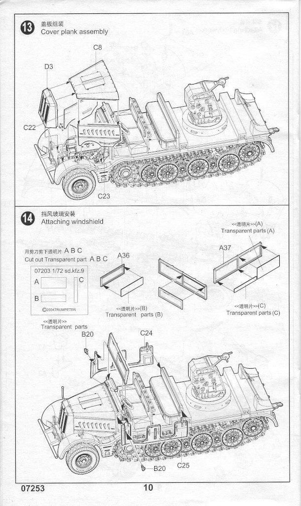 Anleitung10-611x1024 Sd. Kfz. 9/1 Early Version (Drehkran 6/ auf Zugkraftwagen 18T) FAMO Trumpeter 1:72 (07253)