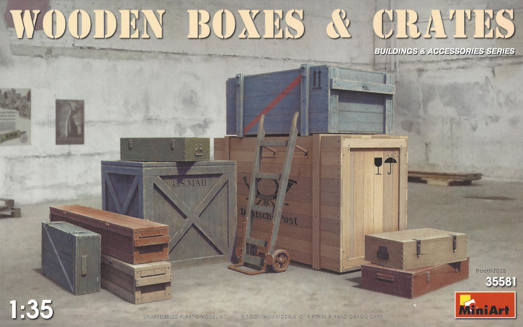 Box-4 Wooden Boxes & Crates 1:35 Miniart (#35581)