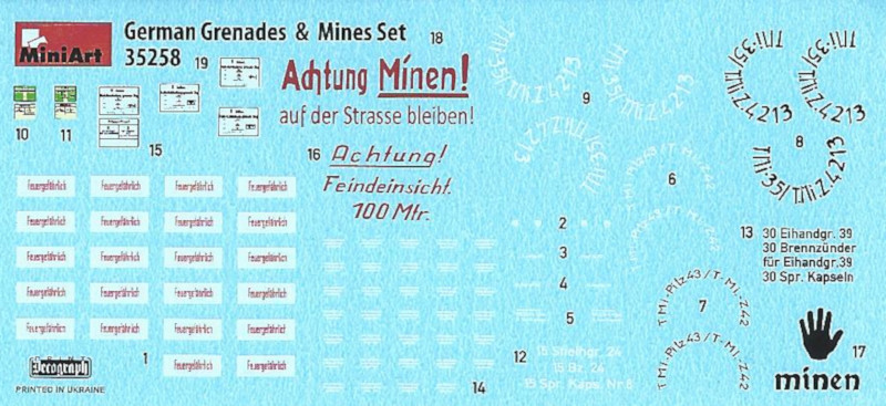 Decals0 German Grenades & Mines Set 1:35 Miniart (#35258)