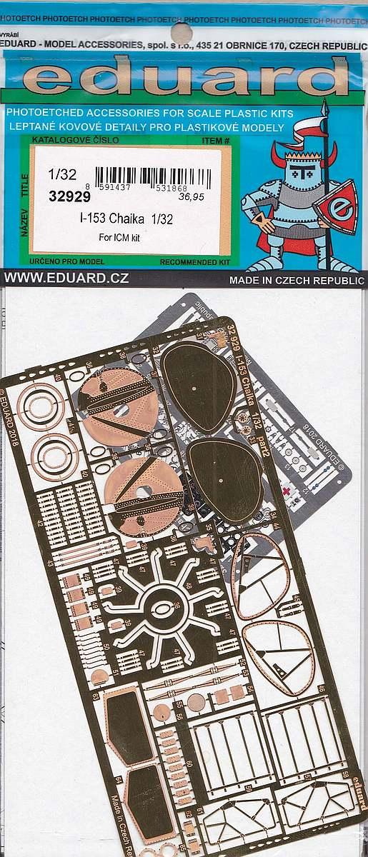 Eduard-32929-I-153-Chaika-2 Photoätzteile für die 1:32er Polikarpov I-153 Tschaika im Maßstab 1:32 von Eduard