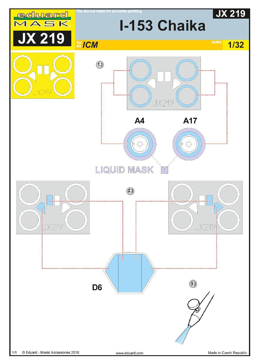 Eduard-JX-219-I-153-Masken_z1-2 Photoätzteile für die 1:32er Polikarpov I-153 Tschaika im Maßstab 1:32 von Eduard
