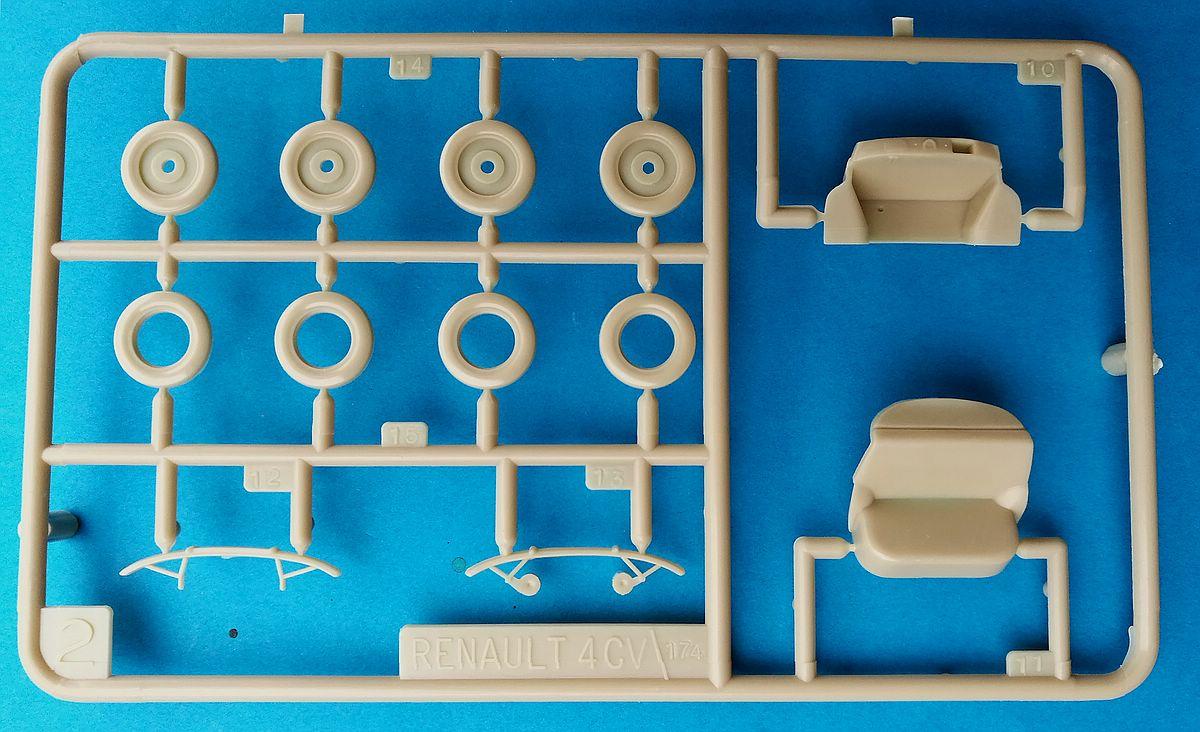 Heller-174-Renault-4CV-15 Kit-Archäologie: Renault 4CV im Maßstab 1:43 von Heller (# 174)