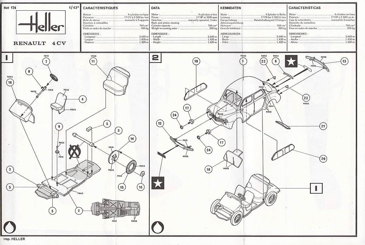 Heller-174-Renault-4CV-26 Kit-Archäologie: Renault 4CV im Maßstab 1:43 von Heller (# 174)