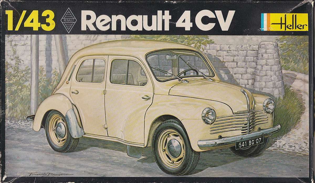 Heller-174-Renault-4CV-28 Kit-Archäologie: Renault 4CV im Maßstab 1:43 von Heller (# 174)