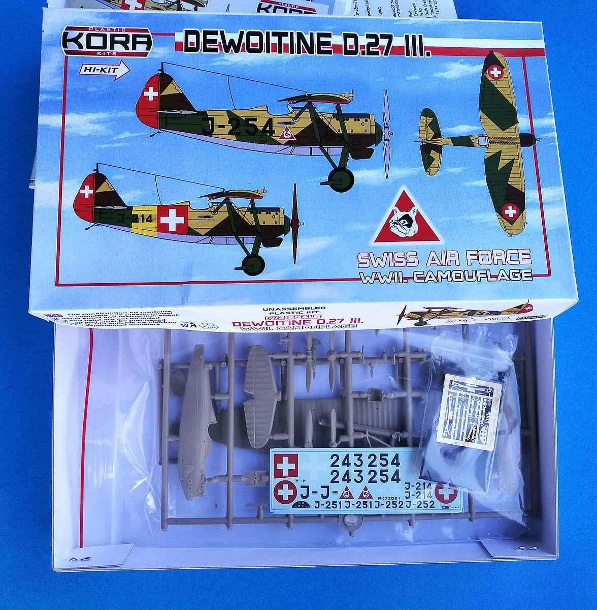 KORA-KPK-72081-Dewoitine-D.27-III-Schweiz-1 Dewoitine D.27 der Schweizer Flugwaffe im Maßstab 1:72 von KORA Models KPK 72081