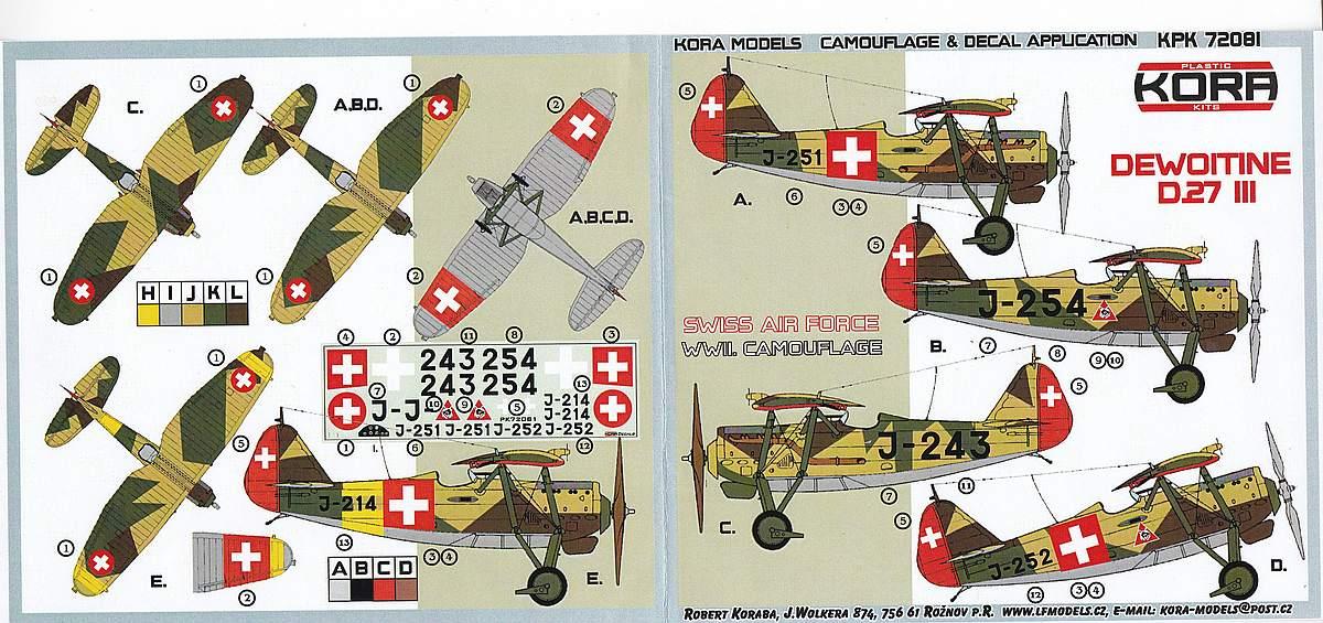 KORA-KPK-72081-Dewoitine-D.27-III-Schweiz-20 Dewoitine D.27 der Schweizer Flugwaffe im Maßstab 1:72 von KORA Models KPK 72081