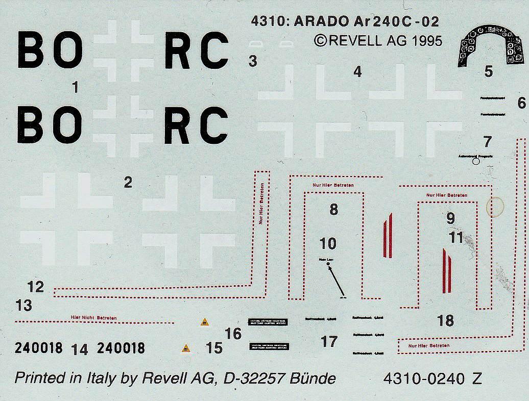 Revell-04310-Arado-Ar-240-C-2-Nightfighter-10 Arado Ar 240 C-2 Nachtjäger im Maßstab 1:72 von Revell 04310