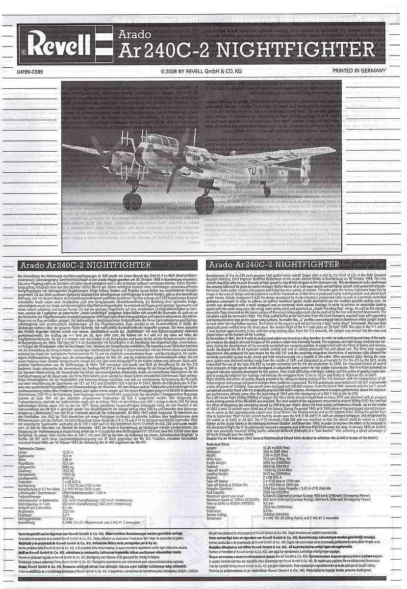Revell-04310-Arado-Ar-240-C-2-Nightfighter-5 Arado Ar 240 C-2 Nachtjäger im Maßstab 1:72 von Revell 04310