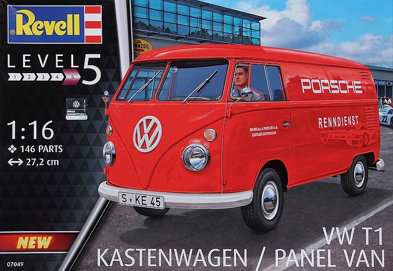 """Revell-07049-VW-T1-Bulli-Kastenwagen-12 VW T1 Kastenwagen """"Renndienst"""" im Maßstab 1:16 von Revell 07049"""