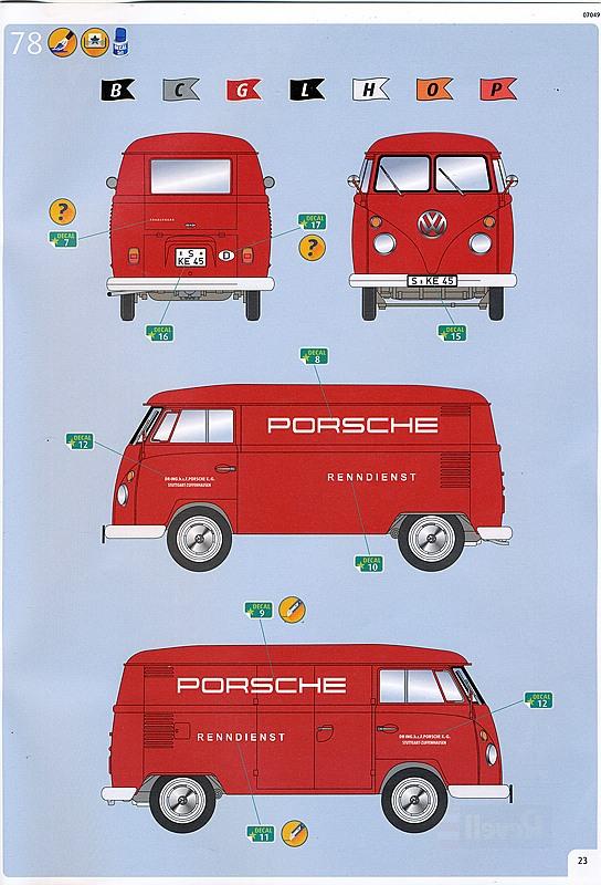 """Revell-07049-VW-T1-Bulli-Kastenwagen-8 VW T1 Kastenwagen """"Renndienst"""" im Maßstab 1:16 von Revell 07049"""