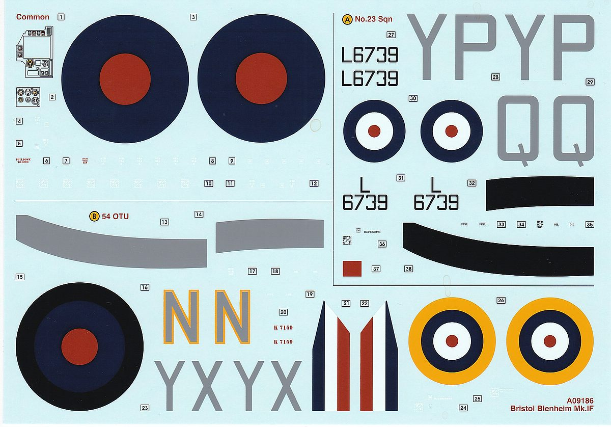 Airfix-A09186-Bristol-Blenheim-Mk.-IF-Decals Blenheim Mk. IF im Maßstab 1:48 von Airfix