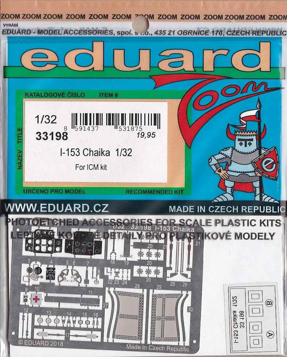 Eduard-33198-I-153-Chaika-ZOOM Photoätzteile für die 1:32er Polikarpov I-153 Tschaika im Maßstab 1:32 von Eduard