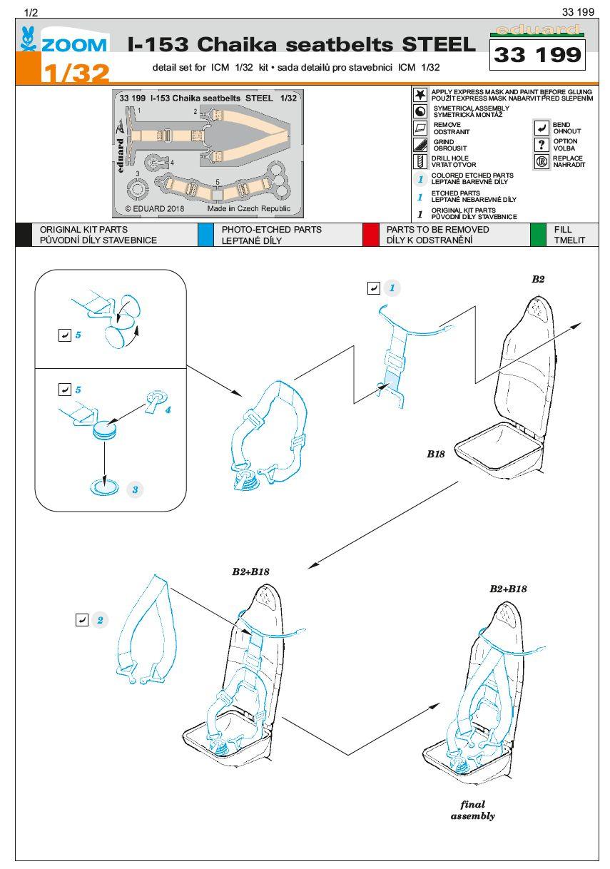 Eduard-33199-I-153-Chaika-seatbelts-STEE-1 Photoätzteile für die 1:32er Polikarpov I-153 Tschaika im Maßstab 1:32 von Eduard