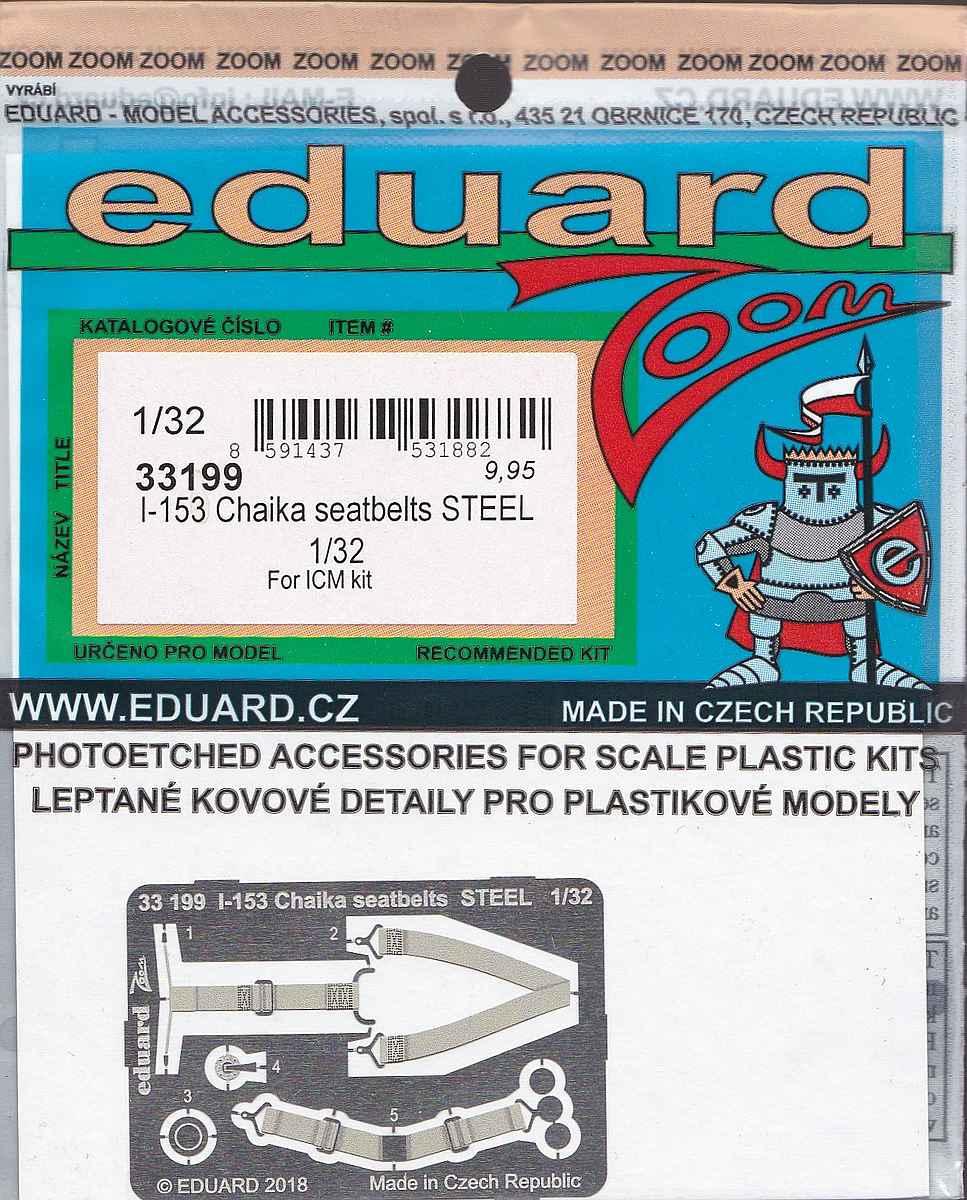 Eduard-33199-I-153-Chaika-seatbelts-STEEL Photoätzteile für die 1:32er Polikarpov I-153 Tschaika im Maßstab 1:32 von Eduard