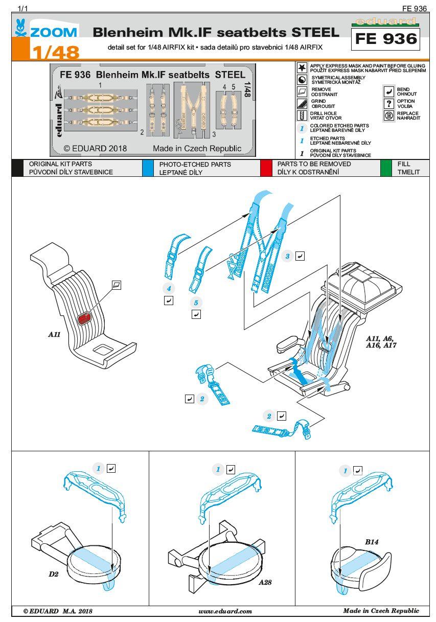 Eduard-FE-936-Blenheim-Mk.-IF-Seatbelts-STEEL-2 EDUARD Detailsets für die neue Blenheim Mk. IF in 1:48 von Airfix