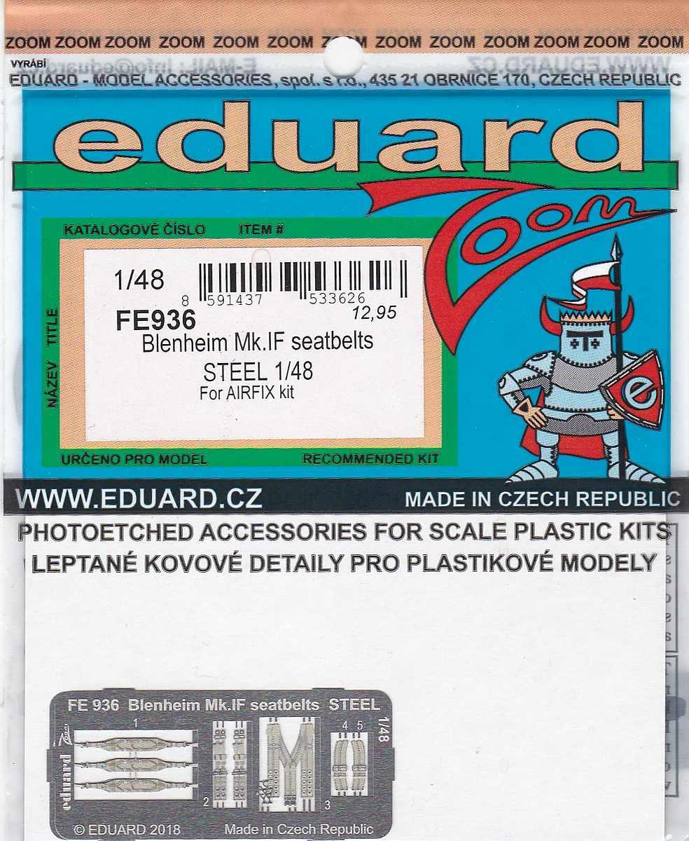 Eduard-FE-936-Blenheim-Mk.-IF-Seatbelts-STEEL EDUARD Detailsets für die neue Blenheim Mk. IF in 1:48 von Airfix