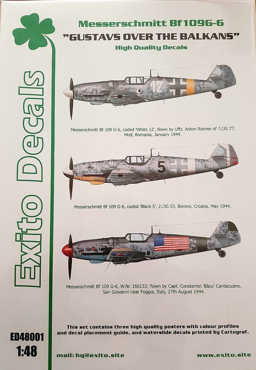 Exito-Decals-Bf-109-G-6-4 Gustavs over the Balkans - Messerschmitt Bf 109 G-6 von Exito Decals 48001