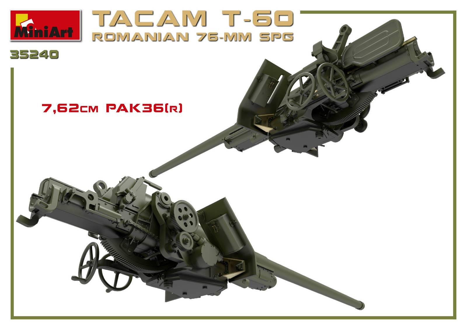 MiniArt-35240-TACAM-T-60-10 Rumänischer 7,62mm Panzerjäger TACAM auf Fahrgestell T-60 von MiniArt 35240