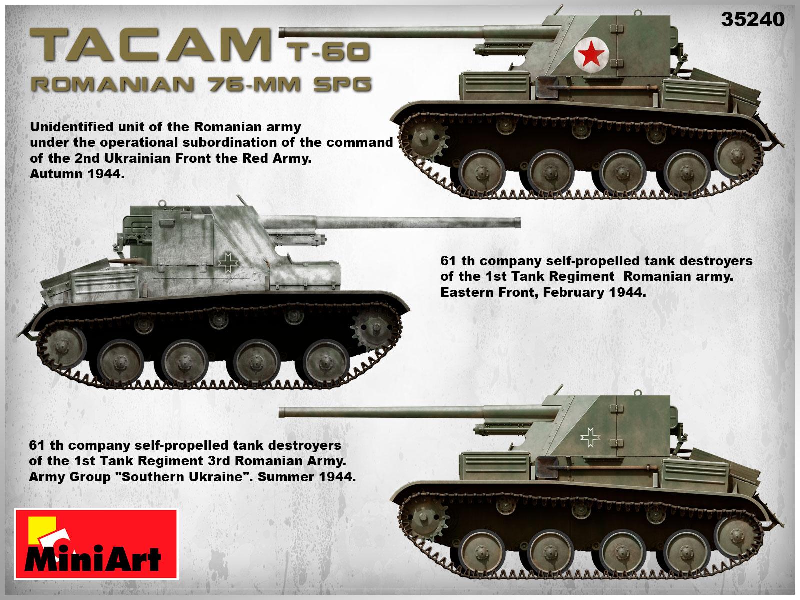 MiniArt-35240-TACAM-T-60-13 Rumänischer 7,62mm Panzerjäger TACAM auf Fahrgestell T-60 von MiniArt 35240